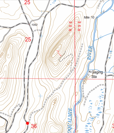 Image of route from trail head to summit