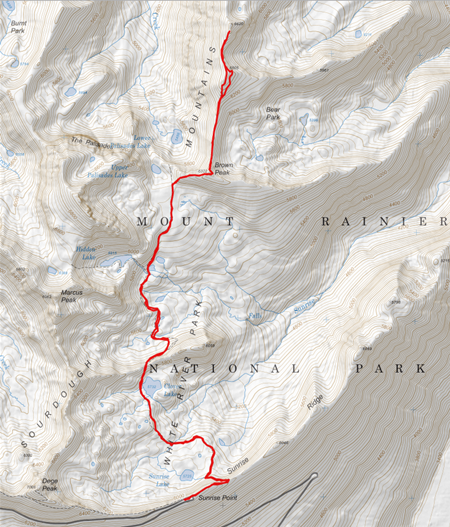 GPS track from Palisades trail head to S. Slide Mountain
